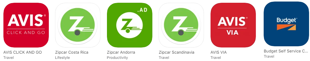 Rent Centric Mobile Apps for Avis Zipcar Hertz abd Budget